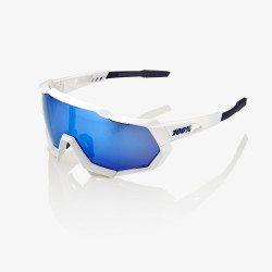 100% Speedtrap Matte White/ HiPER Blue Multilayer Mirror Lens