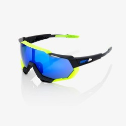 100% Speedtrap Polished Black Neon Yellow/ Electric Blue Mirror